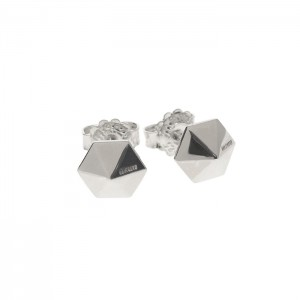 silver hex low pyramid earrings
