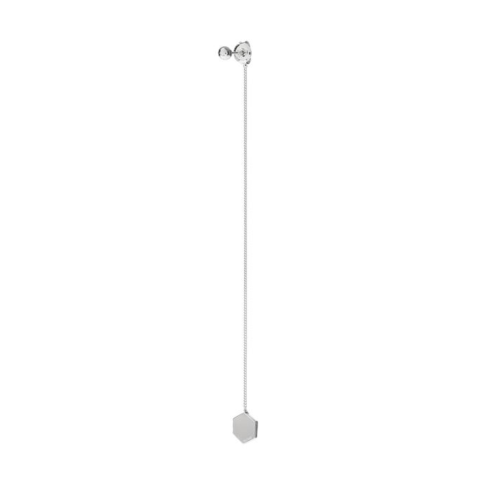 silver hex drop single earring A